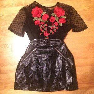 Black mesh crop top with red rose appliqué